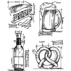 Stamper's Anonymous / Tim Holtz - Cling Mounted Rubber Stamp Set - Beer Blueprints