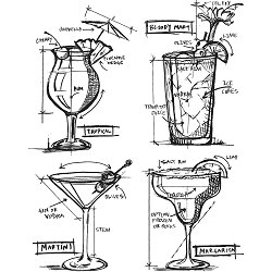 Stamper's Anonymous / Tim Holtz - Cling Mounted Rubber Stamp Set - Cocktail Blueprints