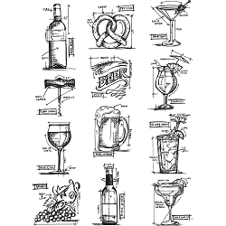 Stamper's Anonymous / Tim Holtz - Cling Mounted Rubber Stamp Set - Mini Blueprints 10 (wine, beer, cocktails)