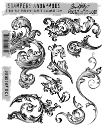 Stamper's Anonymous / Tim Holtz - Cling Mounted Rubber Stamp Set - Scrollwork