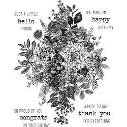 Stamper's Anonymous / Tim Holtz - Cling Mounted Rubber Stamp Set - Glorious Bouquet w/ Grid Block