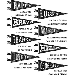 Stamper's Anonymous / Tim Holtz - Cling Mounted Rubber Stamp Set - Pennants
