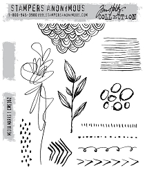 Stamper's Anonymous / Tim Holtz - Cling Mounted Rubber Stamp Set - Media Marks 1
