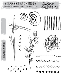 Stamper's Anonymous / Tim Holtz - Cling Mounted Rubber Stamp Set - Media Marks 2