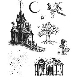 Stamper's Anonymous / Tim Holtz - Cling Mounted Rubber Stamp Set - Haunted House