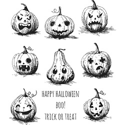 Stamper's Anonymous / Tim Holtz - Cling Mounted Rubber Stamp Set - Pumpkinhead