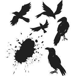 Stamper's Anonymous / Tim Holtz - Cling Mounted Rubber Stamp Set - Ravens