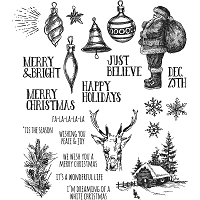 Stamper's Anonymous / Tim Holtz - Cling Mounted Rubber Stamp Set - Holiday Drawings