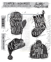 Stamper's Anonymous / Tim Holtz - Cling Mounted Rubber Stamp Set - Carved Christmas #1