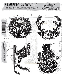 Stamper's Anonymous / Tim Holtz - Cling Mounted Rubber Stamp Set - Carved Christmas #3