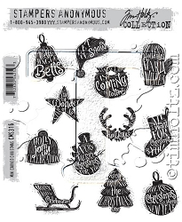 Stamper's Anonymous / Tim Holtz - Cling Mounted Rubber Stamp Set - Mini Carved Christmas