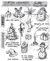 Stamper's Anonymous / Tim Holtz - Cling Mounted Rubber Stamp Set - Tattered Christmas