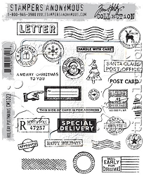 Stamper's Anonymous / Tim Holtz - Cling Mounted Rubber Stamp Set - Holiday Postmarks
