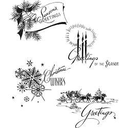 Stamper's Anonymous / Tim Holtz - Cling Mounted Rubber Stamp Set - Holiday Greetings