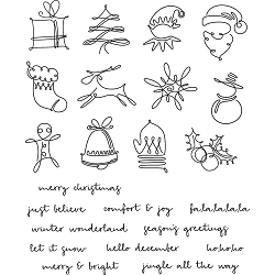 Stamper's Anonymous / Tim Holtz - Cling Mounted Rubber Stamp Set - December Doodles