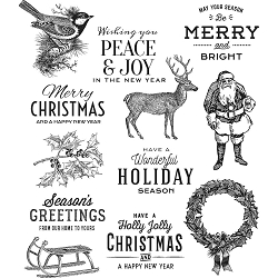 Stamper's Anonymous / Tim Holtz - Cling Mounted Rubber Stamp Set - Festive Overlay