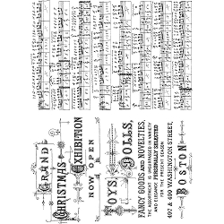 Stamper's Anonymous / Tim Holtz - Cling Mounted Rubber Stamp Set - Music and Advert