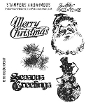 Tim Holtz-Cling Rubber Stamp Set-Retro Holidays