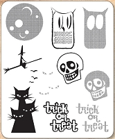 Stamper's Anonymous / Tim Holtz - Cling Mounted Rubber Stamp Set - Halftone Halloween