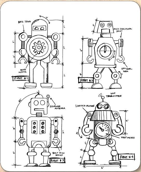 7 x 8.5 Stampers Anonymous Tim Holtz Cling Rubber Robots Blueprint Stamp Set