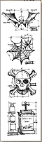Stamper's Anonymous / Tim Holtz - Cling Mounted Rubber Stamp Set - Mini Blueprints Halloween