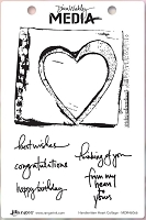 Ranger - Dina Wakley Media - Cling Mounted Rubber Stamp Set - Handwritten Heart Collage