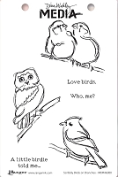 Ranger - Dina Wakley Media - Cling Mounted Rubber Stamp Set - Scribbly Birds on Branches