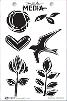 Ranger - Dina Wakley Media - Cling Mounted Rubber Stamp Set - Woodcuts