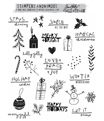 Stamper's Anonymous/Tim Holtz - Cling Mounted Rubber Stamp Set - Seasonal Scribbles