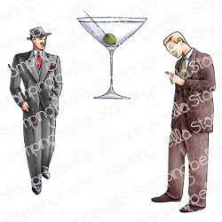 Stamping Bella - Cling Rubber Stamp - Edgar And Molly Vintage Martini Men Set