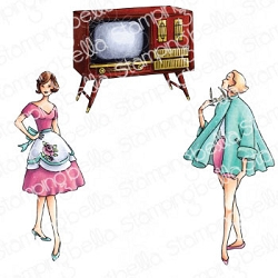 Stamping Bella - Cling Rubber Stamp - Edgar And Molly Vintage TV Set