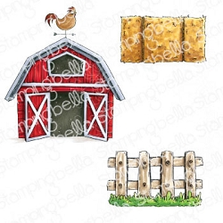 Stamping Bella - Cling Rubber Stamp - Oddball Barn, Hay And Fence