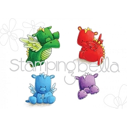 Stamping Bella - Cling Rubber Stamp - Set of Dragons