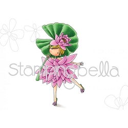 Stamping Bella - Cling Rubber Stamp - Tiny Townie Garden Girl Water Lily