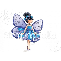 Stamping Bella - Cling Rubber Stamp - Tiny Townie butterfly girl Blanche