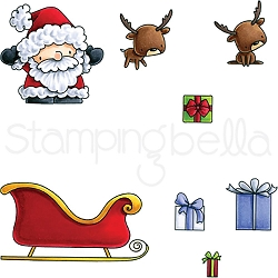 Stamping Bella - Cling Rubber Stamp - Little Bits Santas Gifts
