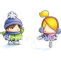 Stamping Bella - Cling Rubber Stamp - Little Bits Figure Skaters