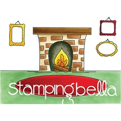 Stamping Bella - Cling Rubber Stamp - Fireplace Backdrop