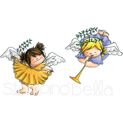 Stamping Bella - Cling Rubber Stamp - Angel Squidgies Curtsy & Trumpet