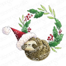 Stamping Bella - Cling Rubber Stamp - Sloth Wreath