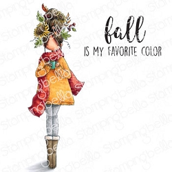 Stamping Bella - Cling Rubber Stamp - Curvy Girl Loves Autumn