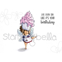 Stamping Bella - Cling Rubber Stamp - Edna with cupcake on top