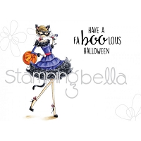 Stamping Bella - Cling Rubber Stamp - Uptown Girl Kitty loves Halloween