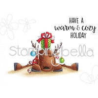 Stamping Bella - Cling Rubber Stamp - Rudolph with a Present on top