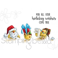 Stamping Bella - Cling Rubber Stamp - Santa Chick and his Helpers