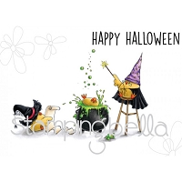 Stamping Bella - Cling Rubber Stamp - The Wizard, the Witch and the Cauldron Chicks
