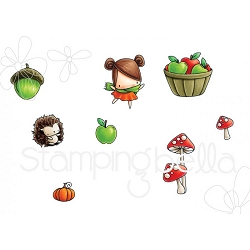 Stamping Bella - Cling Rubber Stamp - Little Bits Fall Fruit