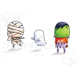 Stamping Bella - Cling Rubber Stamp - Little Bits Halloween Mummy, Frankie and Ghosty