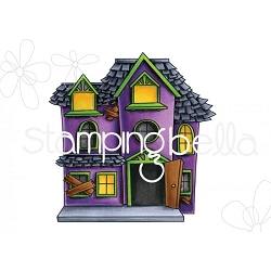 Stamping Bella - Cling Rubber Stamp - Little Bits Halloween Haunted House
