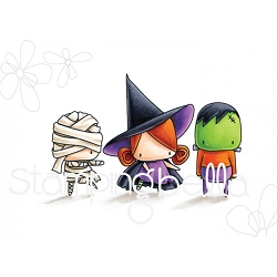 Stamping Bella - Cling Rubber Stamp - The Littles Halloween Mummy, Witchy and Frankie